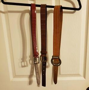 Set of 3 vintage leather belts